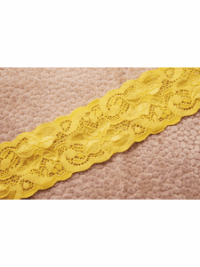 """2 1/4"""" Yellow Floral Galloon Stretch Lace Trim #1001"""