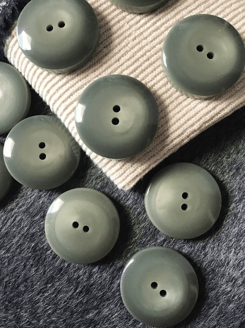 """2 Hole 1-3/8"""" (35mm) 54L Italian Large Sage Green Vintage Thick Coating Buttons #508"""