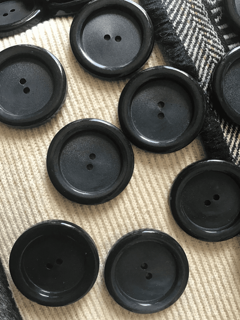 "2 Hole 1-3/8"" (35mm) 54L Vintage Black Italian Large Buttons #505"