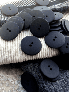 "2 Hole Black Buttons 1"" (25mm) 40L Sewing Buttons #1094"