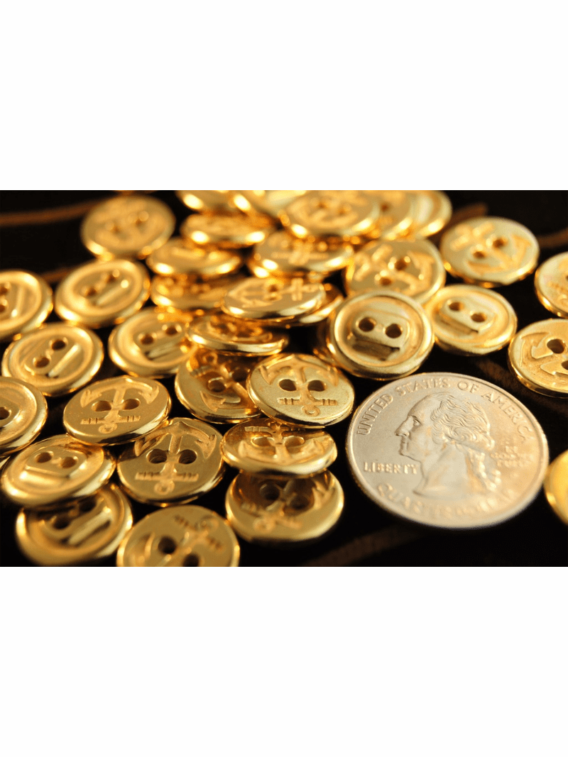 """2 Hole Vintage Anchor Gold Buttons 1/2"""" inch (12 pcs)"""