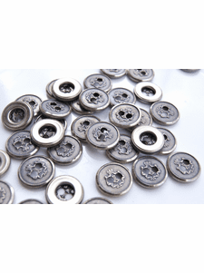 """2 Hole Vintage Embossed Silver Metal Buttons 5/8"""" inch (12 pcs)"""