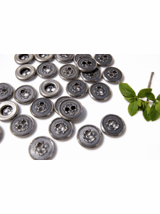 """2 Hole Vintage Silver Embossed Metal Buttons 5/8"""" inch (12 pcs)"""