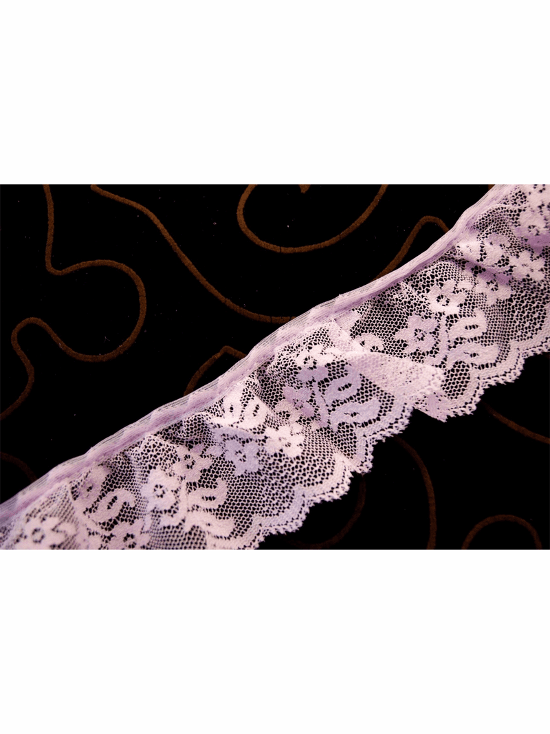 """2"""" Lavender Floral Scalloped Ruffled Lace Trim #294"""