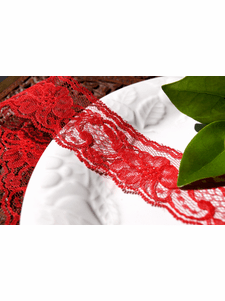 """2"""" Red Floral Lace Trim"""