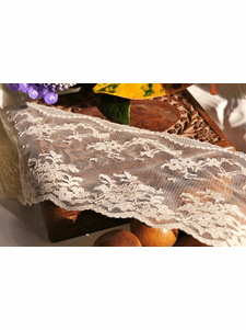 """3 1/2"""" Ivory Floral Scalloped Lace Trim #lace-87"""