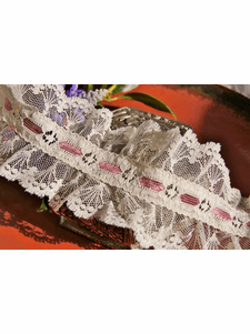 """3"""" Rose Off-White Floral Ruffled Lace Trim #lace-92"""