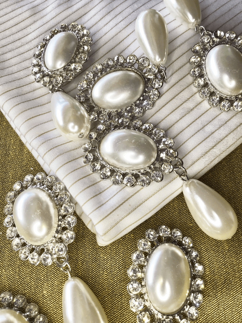 """3"""" x 1-1/4"""" Vintage Oval Pearl with Teardrop Silver Metal Rhinestone Brooches #819"""