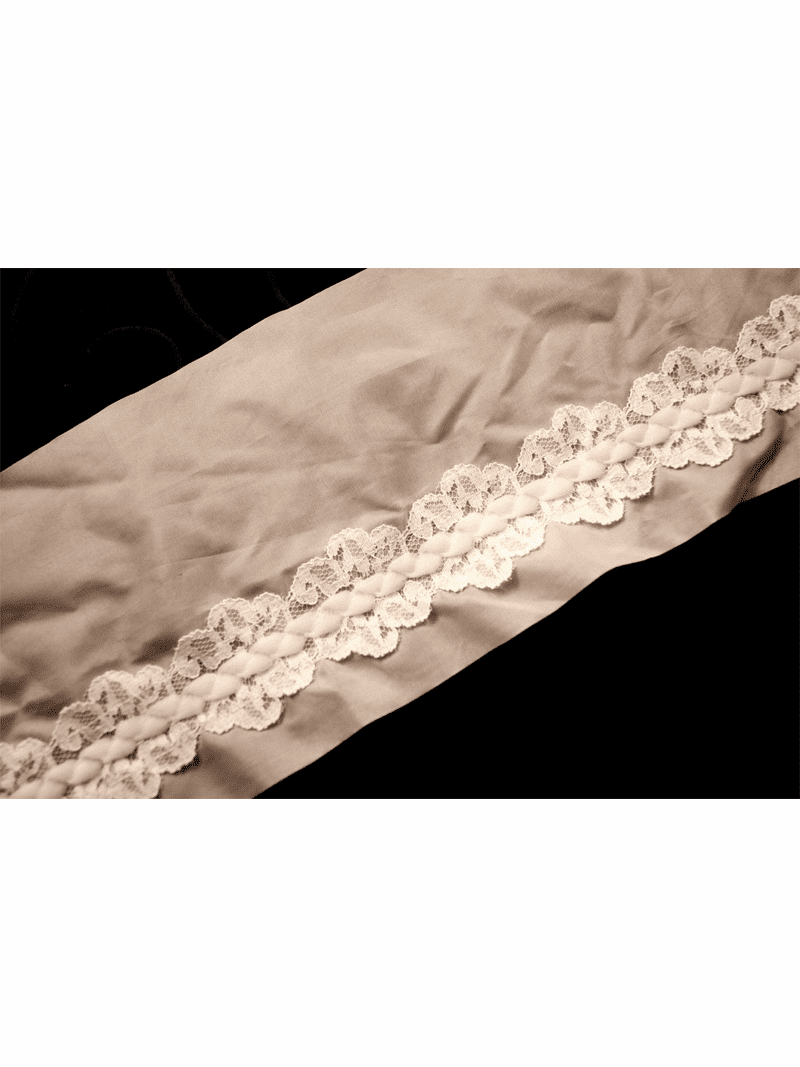 """4 3/4"""" Light Pink & Off White Sheer Braided Lace Trim #1006"""