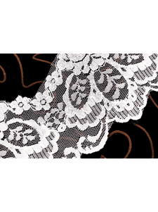"""4 3/4"""" Natural White Lace Trim with Iridescent Sequins #267"""