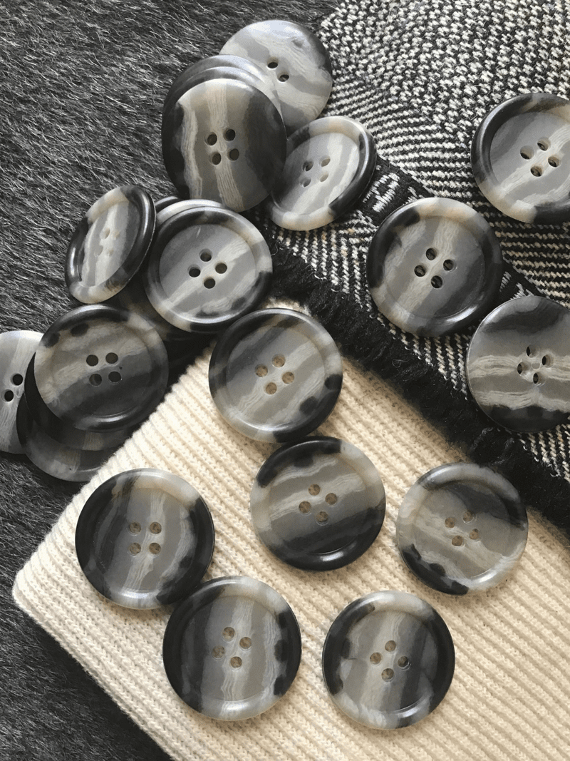 "4 Hole 1-1/8"" (28mm) 44L Multi-Gray Textured Italian Vintage Large Buttons #503"