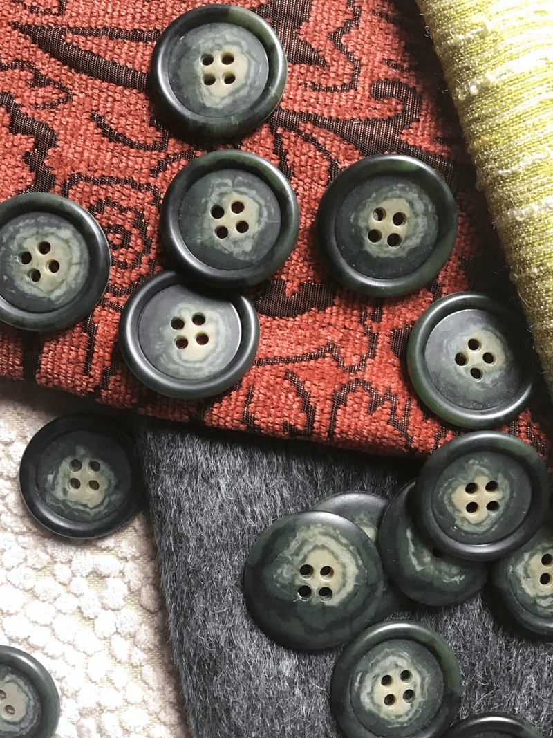 """4 Hole 1-1/8"""" (29mm) 44L Vintage Pine Sage Green Italian Buttons #538"""