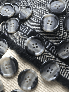 "4 Hole 1"" (25mm) 40L Multi-Grey Textured Italian Vintage Buttons #504"