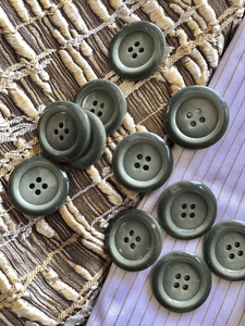 "4 Hole 1"" (25mm) 40L Vintage Grey Italian Buttons #1033"