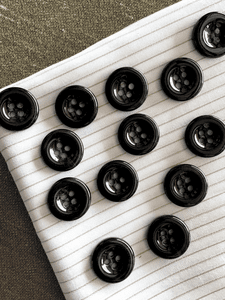 "4 Hole Deep Navy Black Shiny Button 3/4"" (19mm) 30L Vintage Sewing Italian Buttons #797"