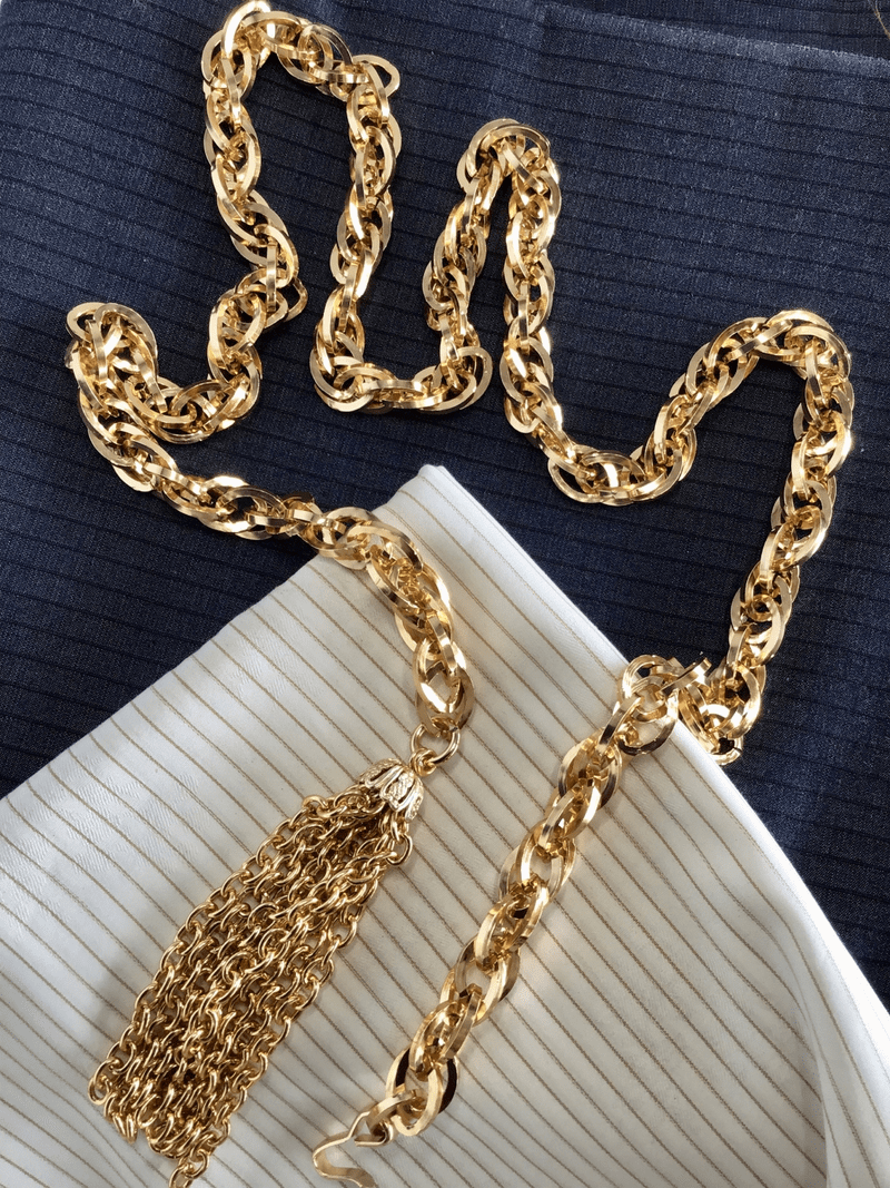 40 inches Fancy Gold Metal Tassle Chain Decorative Belt #918