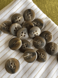 """5/8"""" (15mm) 24L Italian 4 Hole Textured Dark Taupe Brown Vintage Buttons #845"""