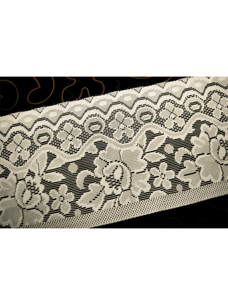 """7 1/4"""" Vintage Off White Green Lace Trim #1020"""
