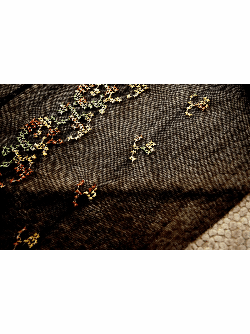 """8"""" Embroidered Brown Green Olive on Black Tulle Trim #279"""