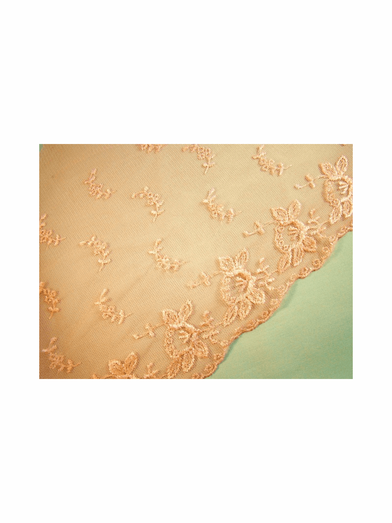 "9.5"" Wide Scalloped Peach Floral Embroidered Lace Trim"