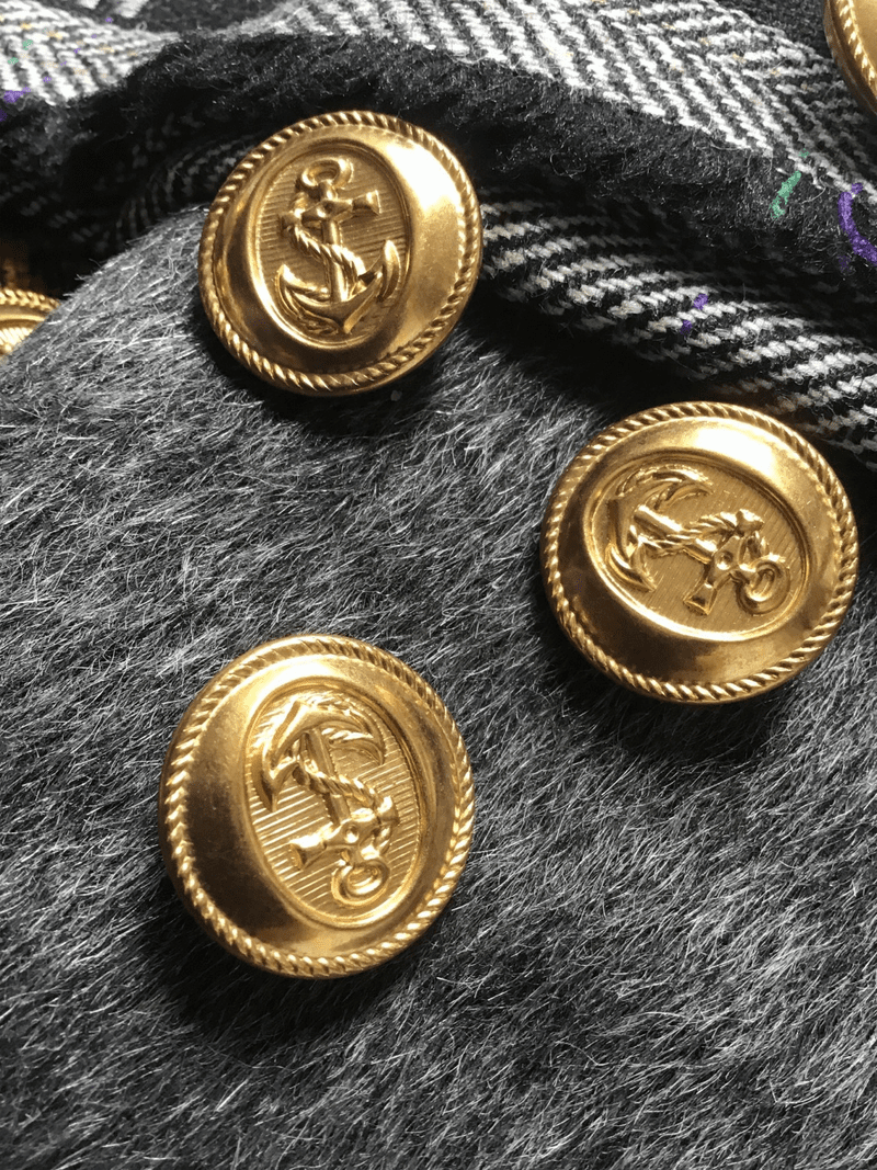 """Anchor Embossed Gold Metal Button Vintage Blazer Shank 15/16"""" (23mm) 36L Buttons #601"""