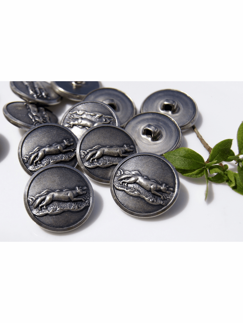 """Animal Embossed Metal Vintage Buttons 1"""" inch (8 pcs)"""