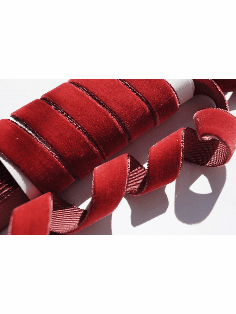 Antique Red French Velvet Ribbon by the Yard 16mm