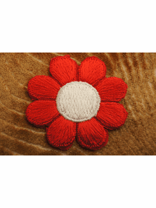 Beautiful Red and White Petals Flower Iron On Patch Applique # appliques-1042