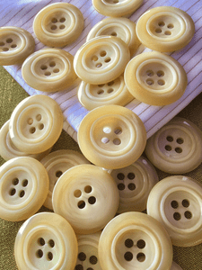 "Big 4 Hole Beige Italian Button 1-3/8"" (35mm) 54L Vintage Sewing Buttons #812"