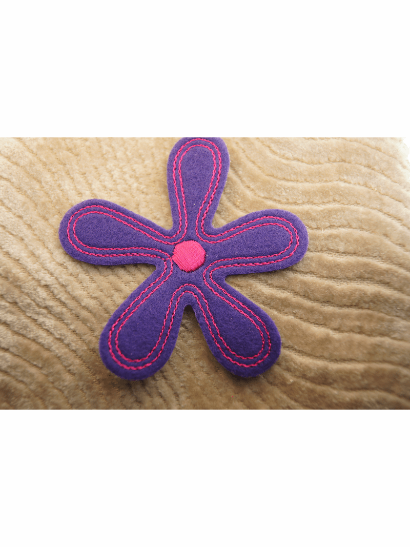Big Purple Flower with Fuchsia Embroidery Designs Iron On Patch Applique # appliques-1058