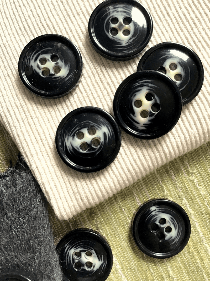 "Black Cream Textured 4 Hole 1-3/8"" (35mm) 54L Italian Vintage Buttons #555"