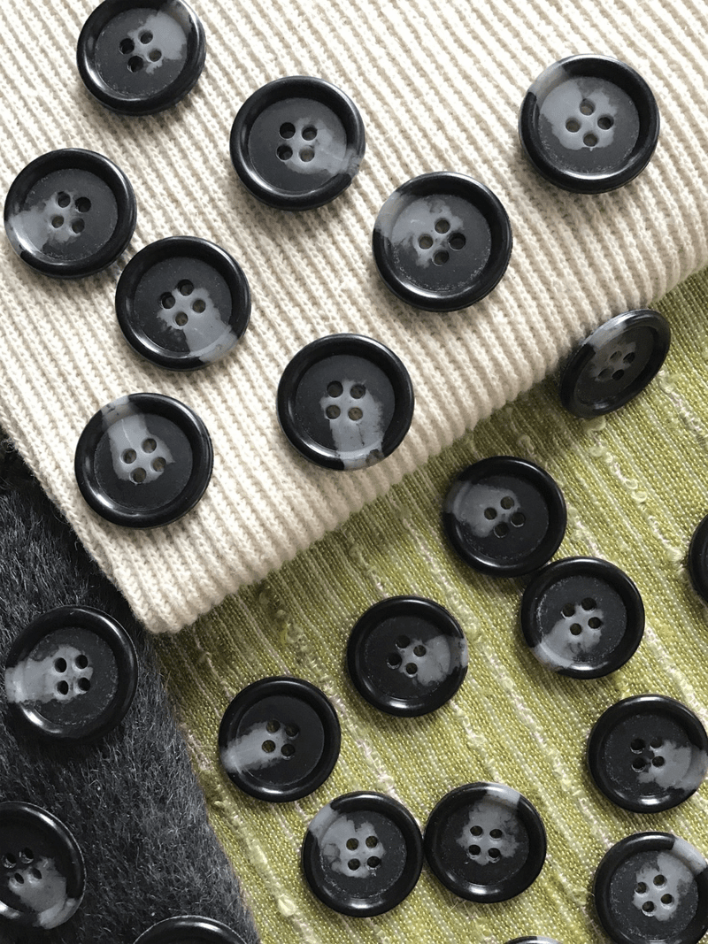 "Black Grey Italian 4 Hole 15/16"" (22mm) 36L Vintage Buttons #554"