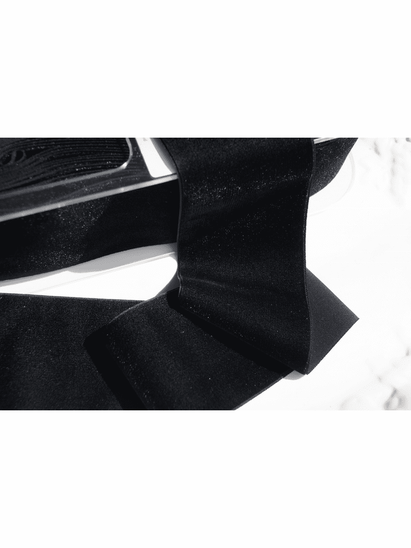 Black Swiss Wide Velvet Ribbon 72mm