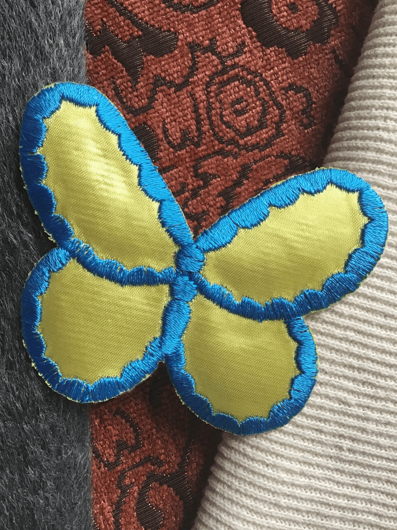 Blue Yellow Applique Vintage Butterfly Decorative Patch #5085