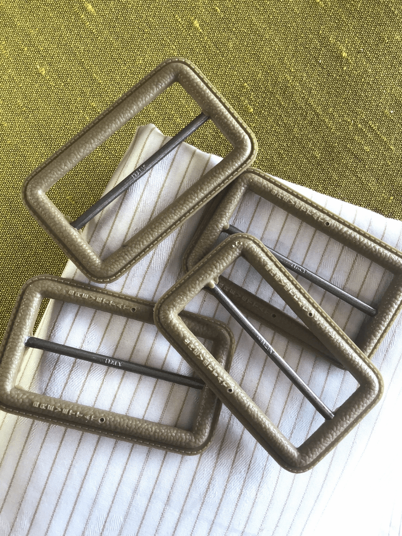 """BREVETTAT Taupe Leather Look Plastic Metal Buckle 2-1/2"""" x 1-1/2"""" Made in Italy #730"""