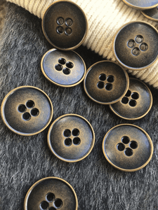 """Bronze Copper 4 Hole Metal Buttons 1"""" (25mm) 40L Sewing Buttons #1102"""