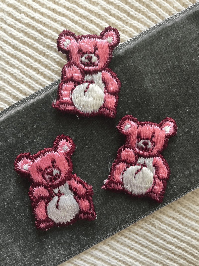 Burgundy Pink White Vintage Teddy Bear Decorative Applique Patch #5063