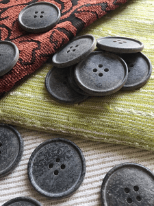 """Charcoal Grey Italian 4 Hole 1-1/4"""" (31mm) 50L Vintage Buttons #560"""