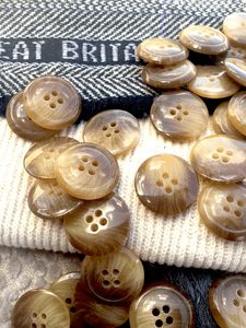 """Chestnut 4 Hole Italian Buttons 13/16"""" (20mm) 32L Vintage Sewing Buttons #1072"""