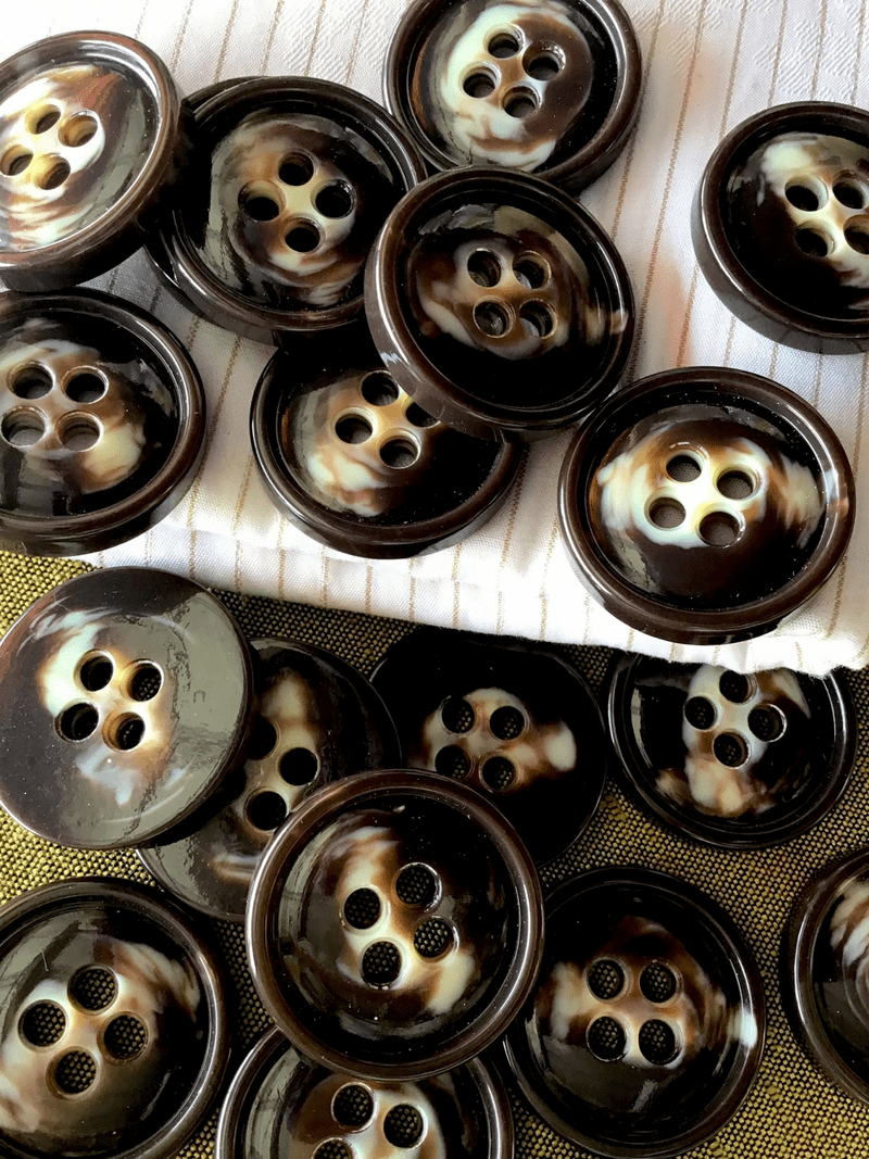 "Chocolate Brown Cream 4 Hole Button 1-3/16"" (30mm) 48L Italian Button #766"