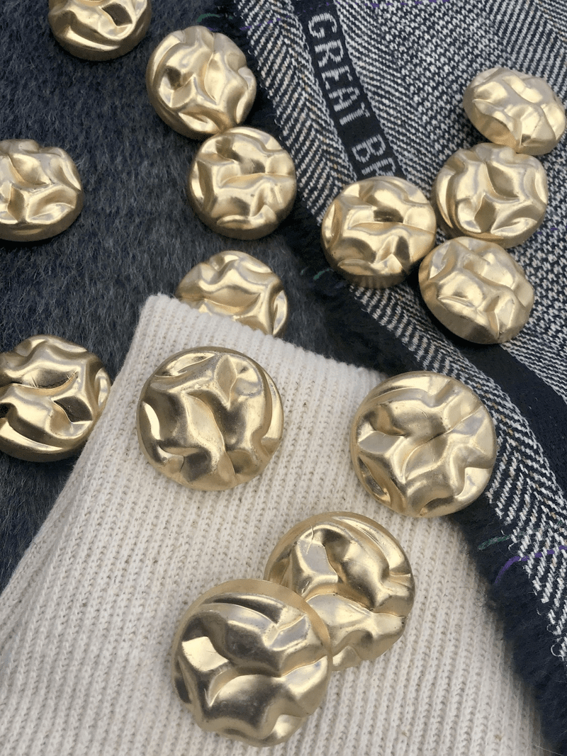 """Chunky Gold Buttons 1-3/16"""" (30mm) 48L Metallic Plastic Buttons #1061"""