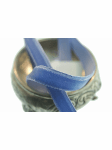 Classic Blue French Velvet Ribbon by the Yard 9mm