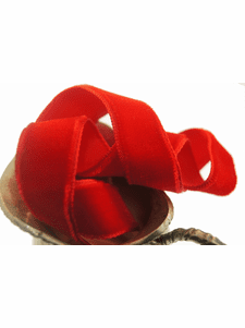 Classic Red French Velvet Ribbon by the Yard 16mm