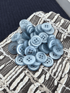 """Clear River Blue 4 Hole 9/16"""" (14mm) 22L Vintage Sewing Buttons #1017"""