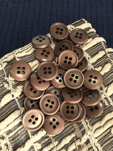"""Coca Brown 4 Hole 5/8"""" (15mm) 24L Vintage Sewing Buttons #1021"""
