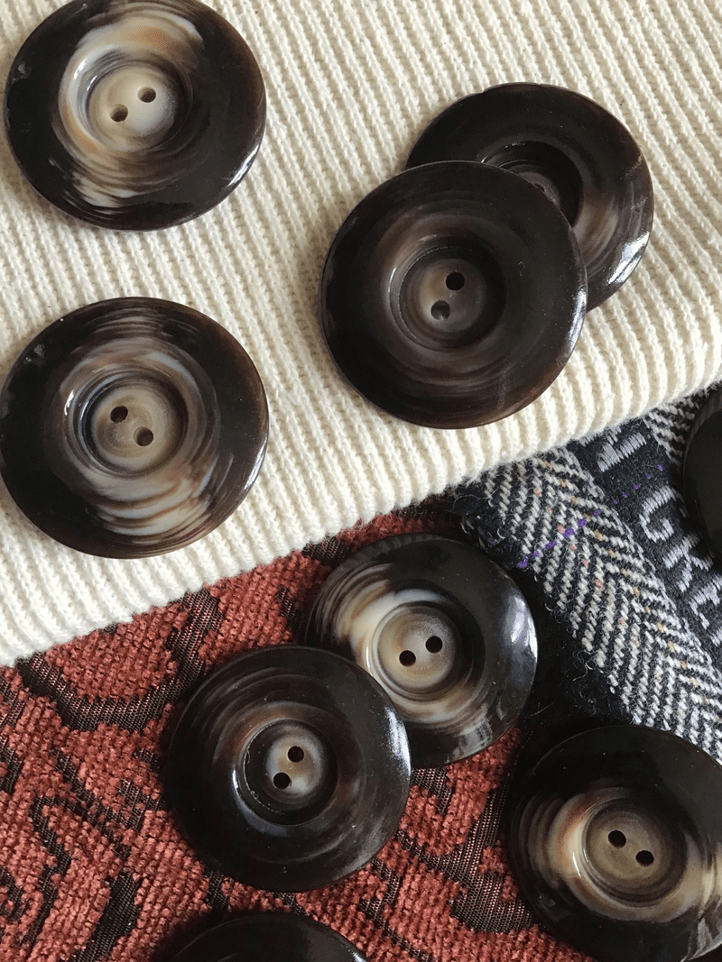 "Coffee Brown Textured Cream Italian 2 Hole 1-3/8"" (35mm) 54L Vintage Large Buttons #576"