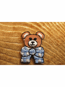 Cute Baby Bear with Blue White Plaid Bow Tie Iron On Patch Applique # appliques-1053