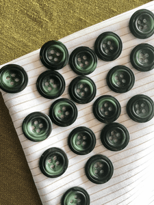 "Dark Green Italian Button 4 Hole 13/16"" (20mm) 32L Vintage Buttons #939"