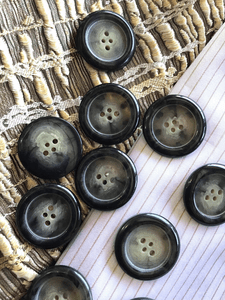 "Dark Grey Faded Cream 4 Hole 1-3/16"" (30mm) 48L Vintage Italian Large Buttons #1036"