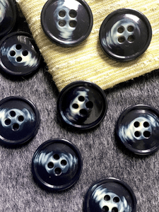 "Dark Navy Cream Italian 4 Hole 1-3/8"" (35mm) 54L Vintage Coat Buttons #532"